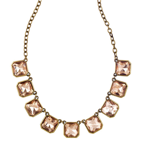 Retro Cut Crystal Square Necklace